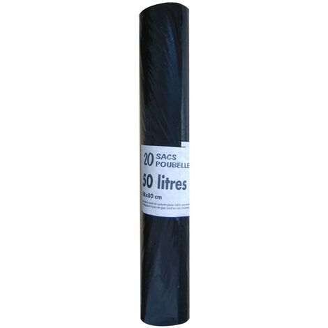 Sac poubelle 50L 30µm noir, rouleau de 20 sacs