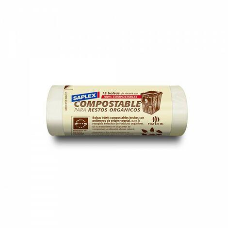 Sac poubelle compostable 9lt 15 ud saplex 44x44cm