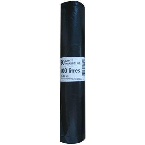 Sac poubelle PEBD ''renforcé'' 100L 50µm noir, rouleau de 20 sacs
