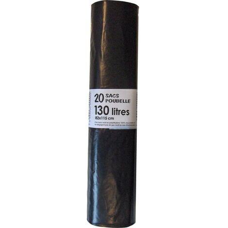 Sac poubelle standard 100L 35µm noir, rouleau de 20 sacs