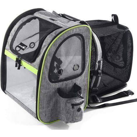 Sac pour animaux de compagnie transparent et respirant Sac à dos portable pour chat et chien avec poches à fenêtre transparentes ou en filet avec ouverture frontale, sac d'espace pliable extérieur portable et extensible