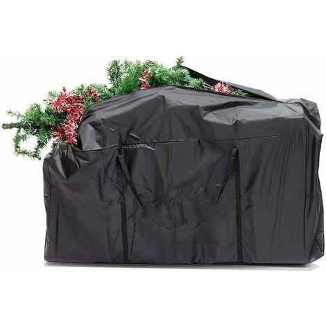Sac pour sapin de No?l, sac lourd pour ranger les grands arbres de No?l et les décorations artificielles. Imperméable, anti-poussière, anti-insectes Noir 173x76x51cm