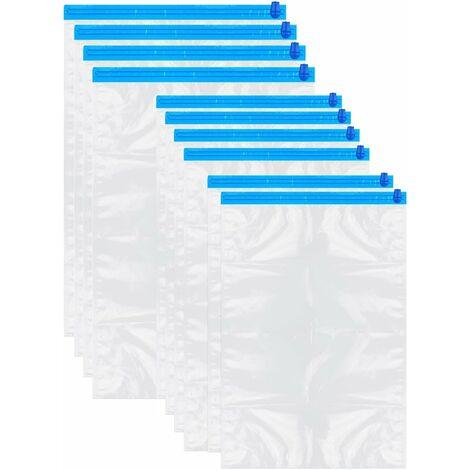 Sac Rangement Vetement Sous Vide | 10 Pochette Transparente à double glissière bleu - bleu