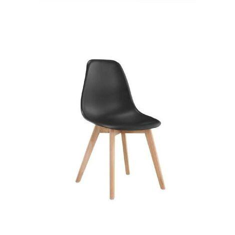 SACHA Chaise de salle a manger noir Pieds en bois hévéa massif Scandinave L 48 x P 55 cm Generique