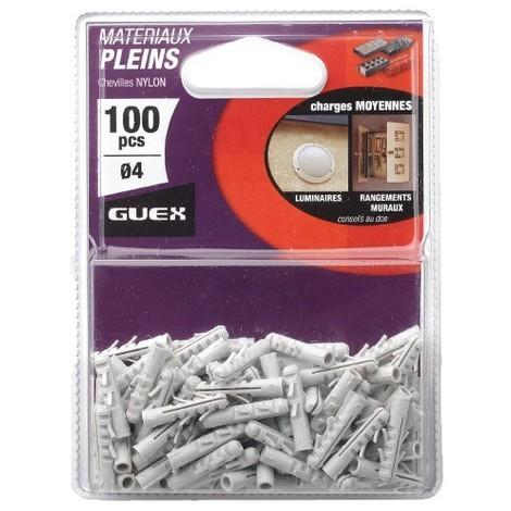Sachet 100 chevilles nylon D. 4 mm. Charges moyennes. - 101201000 - Guex - -