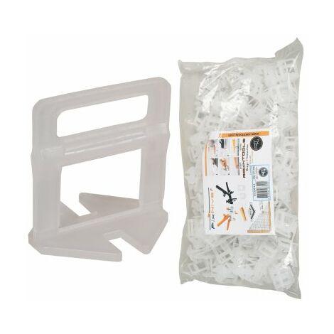 Sachet 250 Clips 1,5 mm croisillons auto-nivelants pour carreaux de 3 à 13 mm
