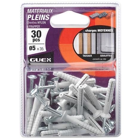 Sachet 30 chevilles nylon à frapper vis-clou D. 5 X 35 mm - 106201000 - Guex