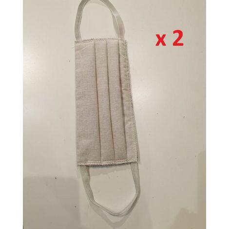 Sachet de 2 masques lavable 30x CHEWO - beige - UNS1 AFNOR DGA