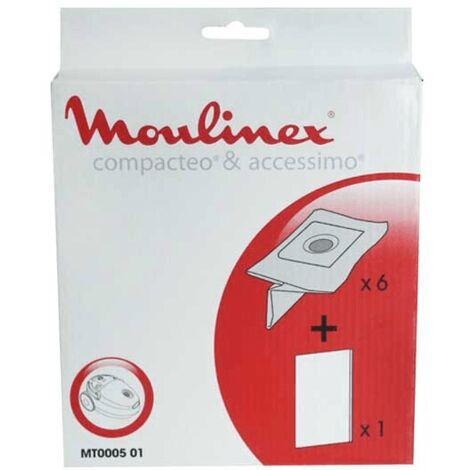 Sachet De Sacs Moulinex 6+1f MT000501 Pour PIECES ASPIRATEUR NETTOYEUR PETIT ELECTROMENAGER
