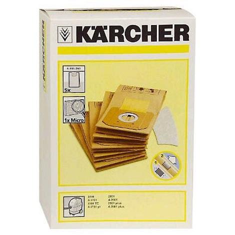 Sachet Filtre Papier Pour Aspirateur KARCHER A2701 / 2801 / 2801 + ( Paquet  De 5