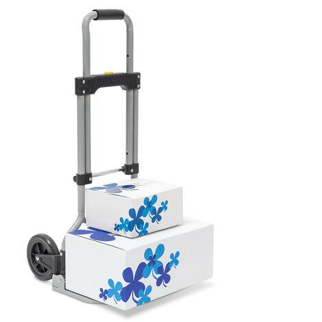 Sackkarre klappbar belastbar bis 60 kg HBT ca. 96 x 38 x 37 cm Transportkarre mit ausziehbarem Griff für Umzug, Einkäufe und schwere Kisten höhenverstellbar und platzsparend faltbar, grau