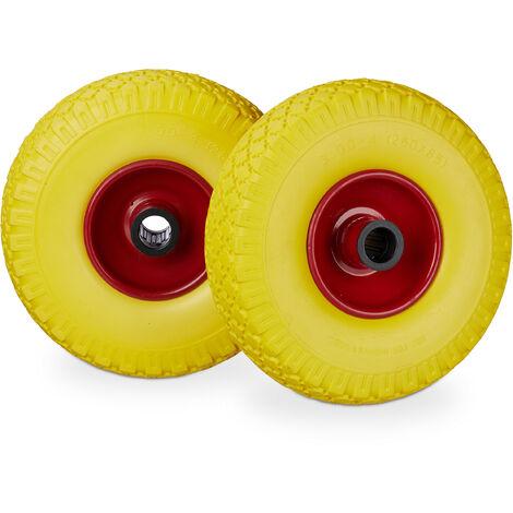 Sackkarrenrad Set, pannensicher, 3.00-4 Vollgummireifen, Stahlfelge, 25mm Achse, 100 kg, 260x85mm, gelb-rot