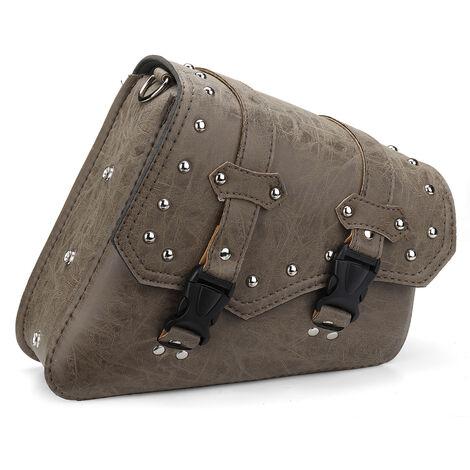 Sacoche universelle de moto cloutée sacoche à outils en cuir PU marron avec porte-bouteille d'eau Type de boucle à fermeture à pression (droite)