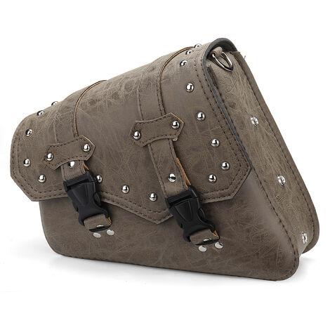 Sacoche universelle de moto cloutée sacoche à outils en cuir PU marron avec porte-bouteille d'eau Type de boucle à fermeture à pression (gauche)