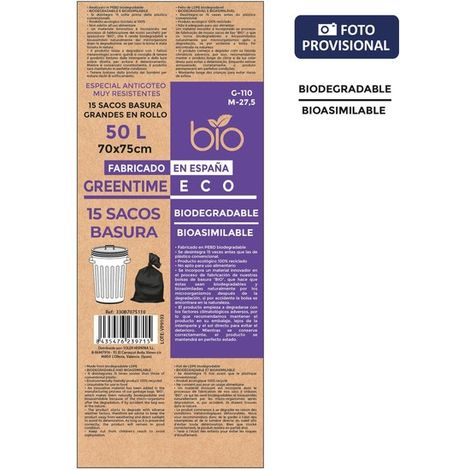 Sacos Basura 70x75-g110-50 L. Biodegradables