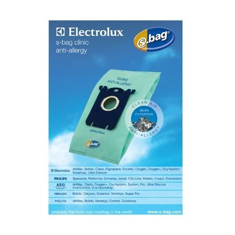 SACS (4X) E206B S-BAG HEPA ANTI-ALLERGIQUE POUR ASPIRATEUR ELECTROLUX