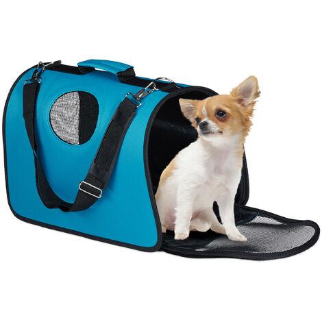 Sacs à chiens, boîte transport animaux domestiques ; jusqu'à 8 kg; accrocher dans auto, avion, bleu