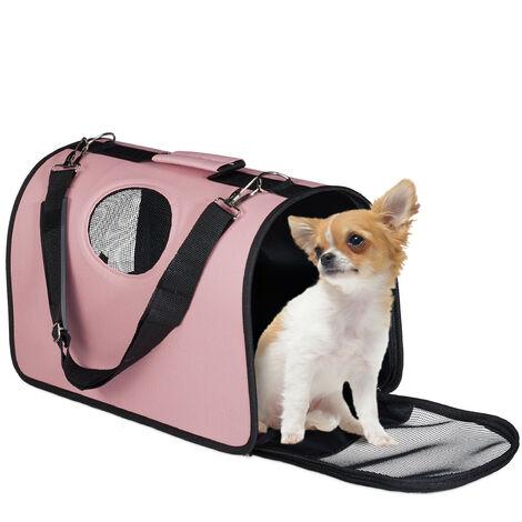Sacs à chiens, boîte transport animaux domestiques ; jusqu'à 8 kg; accrocher dans auto, avion, rose
