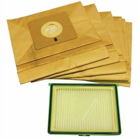 Sacs aspirateur compacteo par 6 + filtre pour Aspirateur Rowenta