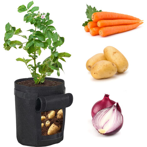 Sacs De Culture De Pommes De Terre De 10 Gallons Boite De Jardiniere Sac De Culture De Legumes Sac De Culture De Jardin Avec Poignees 14 X 16 Pouces, Gris L