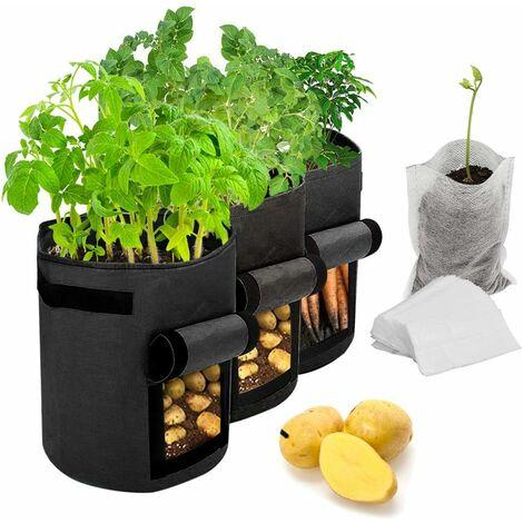 Sacs de culture de pommes de terre, paquet de 3 sacs de culture de plantes de / Sacs en tissu non tissé d'aération avec poignées de semis biodégradables(25*30cm, noir)