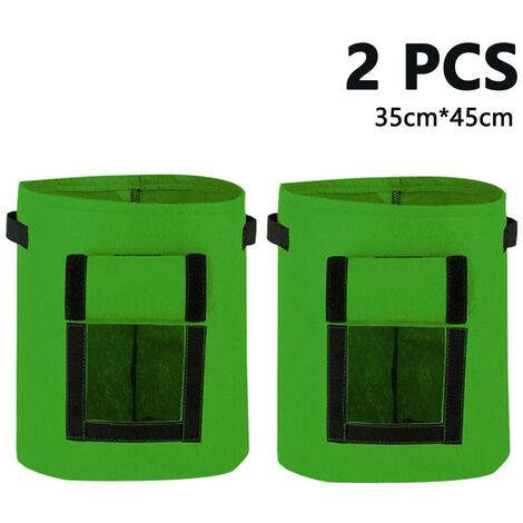 Sacs de culture Paquet de 2 pochettes de plantation Pots en tissu Sacs en tissu respirant de qualité supérieure pour conteneur de pommes de terre / plantes avec poignées et fenêtre Velcro, style 3