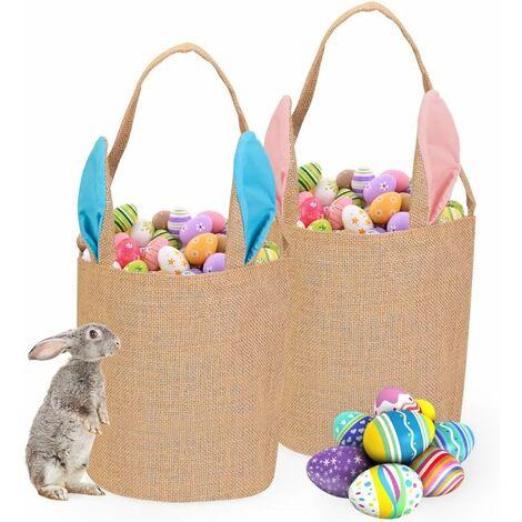 Sacs de Pâques, Sacs de Pâques de Jute, 2 Paniers de Lapin de Pâques Sacs, Fourre Tout pour Oeufs Chasse, Remplir Cadeaux de Pâques, fête de Pâques, Enfants Chasse aux œufs, Chocolat, Bonbons