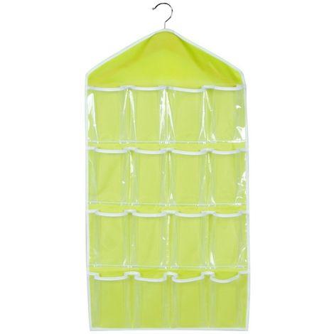 Sacs de rangement Pochette penderie 16 grille (Couleur: vert)