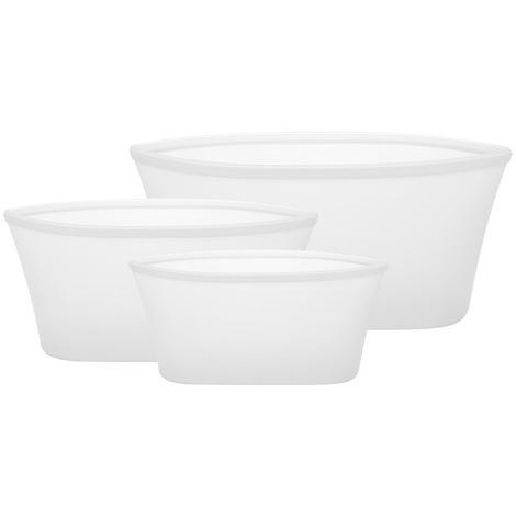 Sacs De Rangement Reutilisables En Silicone, 3 Pieces, Blanc