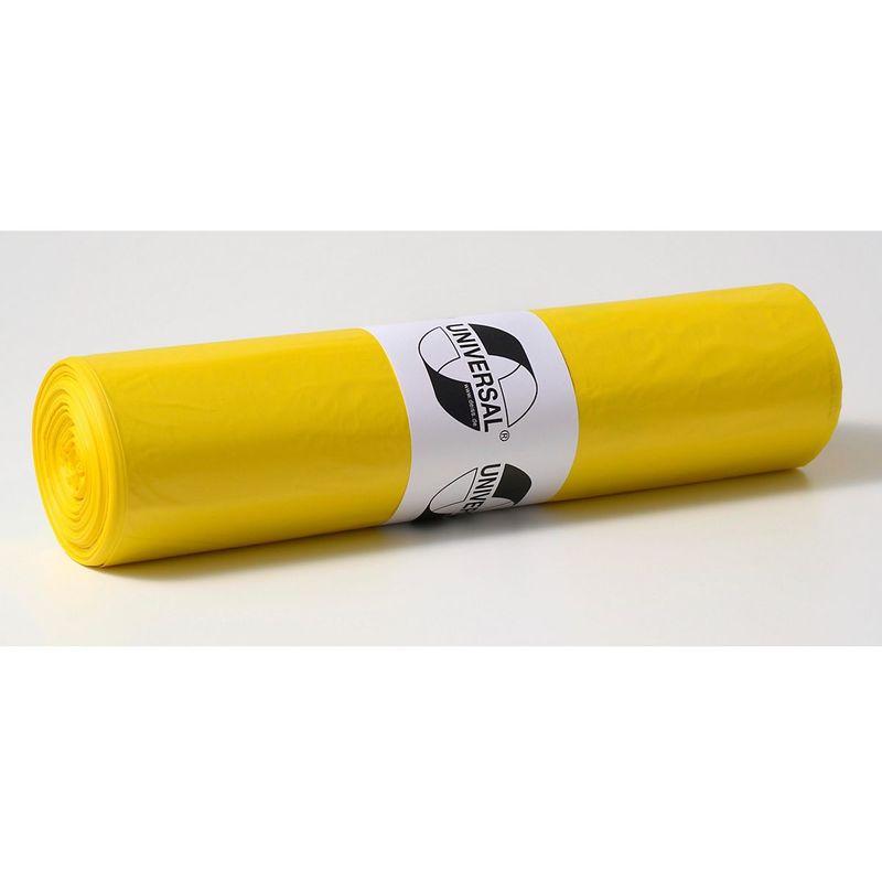 Sacs plastique - capacité 120 l, l x h 700 x 1100 mm - épaisseur 55 µm, lot de 250, jaune - Coloris: Jaune