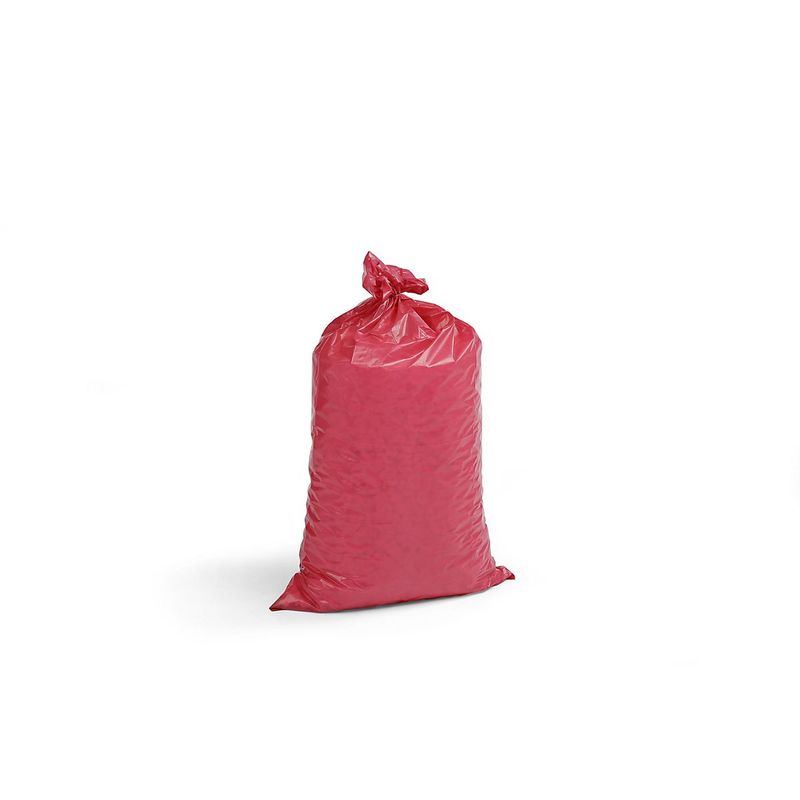 Sacs plastique - capacité 70 l, l x h 575 x 1000 mm, lot de 250 - épaisseur 55 µm, rouge - Coloris: Rouge