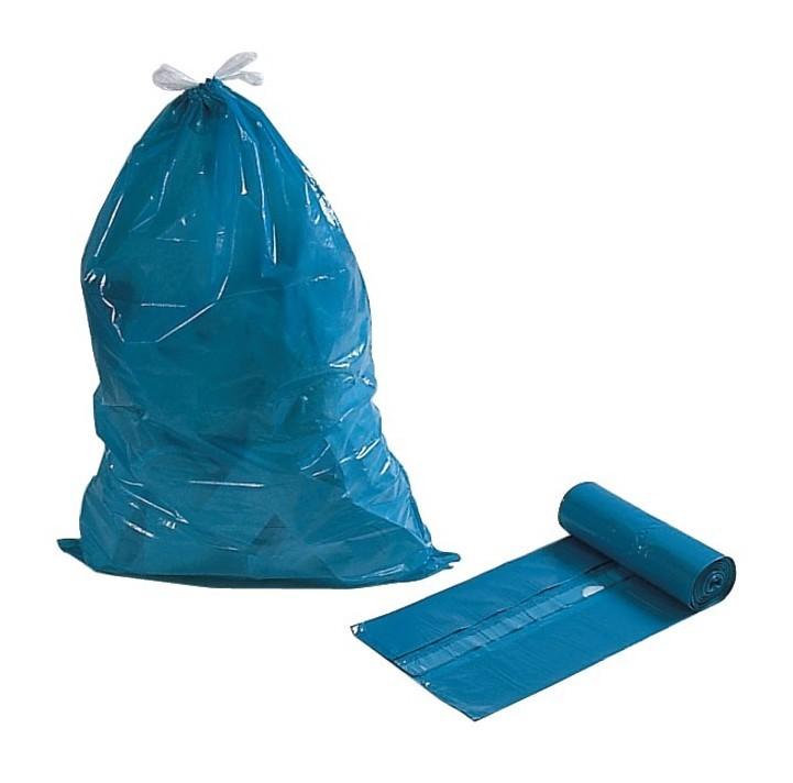 FP - Sacs poubelle 120 l bleu m.Zugca. 39 my Rouleau de 25 pièces. (Par 10)