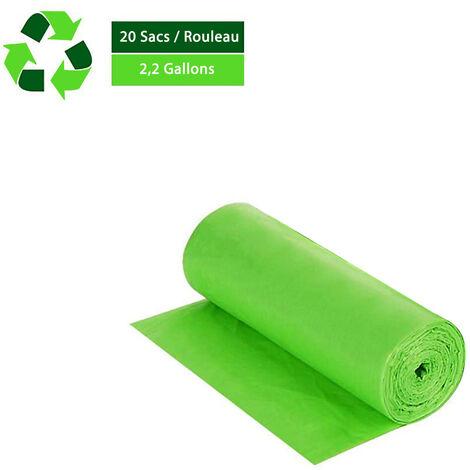 Sacs poubelle biodégradables portables x 20 sacs, 10L / 2,2 gallons sacs à ordures respectueux de l'environnement verts pour camping toilette maison compostage propre