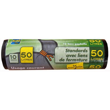 Sacs Poubelle ''Standards'' Noirs 50L Rouleau de 10 sacs