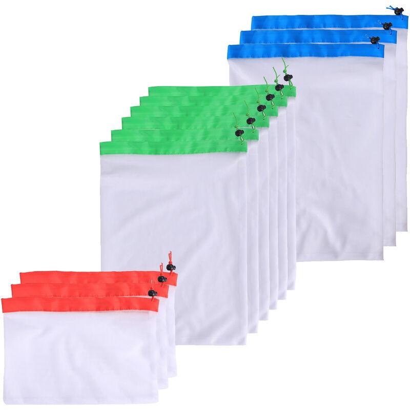 Sacs Reutilisables Mesh Produire Lavable Haut De Gamme D'Epicerie Sacs Avec Bords Renforces Et 3 Tailles, 12 Pcs