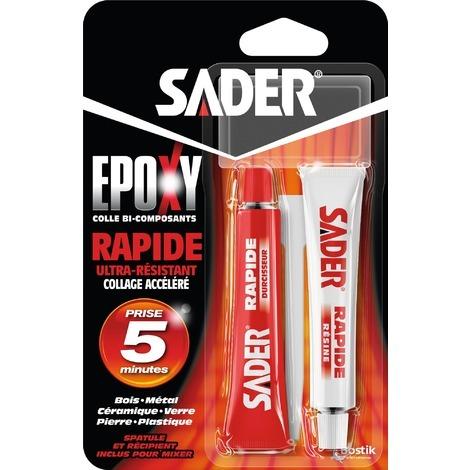 SADER COLLE EPOXY RAPIDE TUBES 15ML X2 (Vendu par 1)