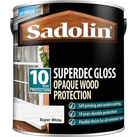 Sadolin 5028851 Superdec Opaque Wood Protection Super White Gloss 2.5 Litre