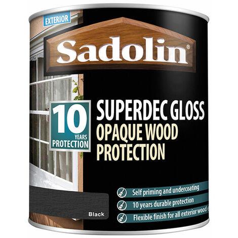 Sadolin 5028853 Superdec Opaque Wood Protection Black Gloss 1 Litre