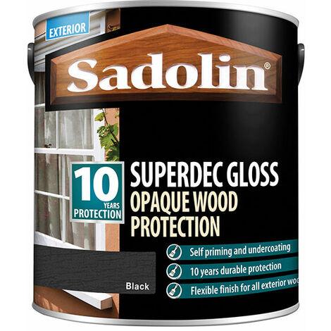 Sadolin 5028854 Superdec Opaque Wood Protection Black Gloss 2.5 Litre
