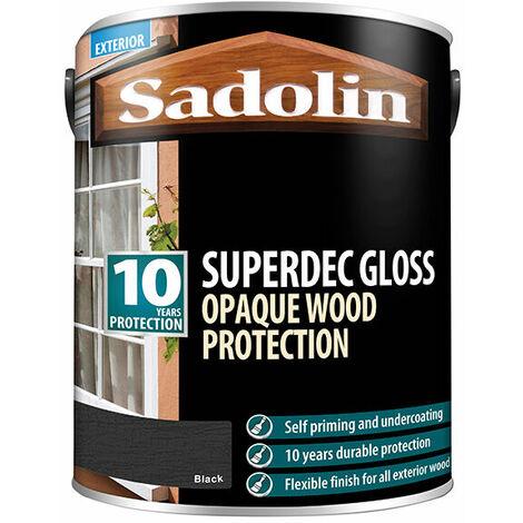 Sadolin 5028855 Superdec Opaque Wood Protection Black Gloss 5 Litre