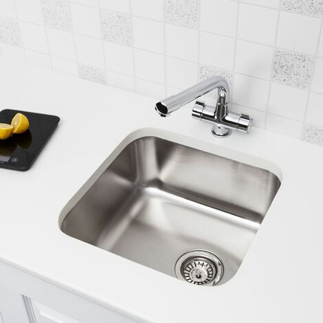 """main image of """"Säuber Kitchen Sink Single Bowl Brushed Stainless Steel Undermount Square Waste"""""""
