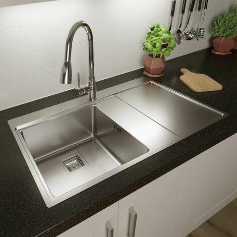"main image of ""Säuber Kitchen Sink Single Bowl RH Drainer Stainless Steel Inset Basket Waste"""