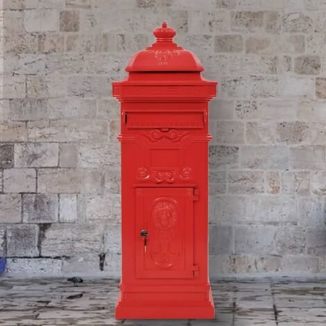 Säulenbriefkasten Aluminium Vintage-Stil Rostfrei Rot