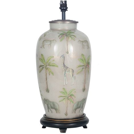 Safari Decorated Large Urn Lamp Glass Base Only Antique Style