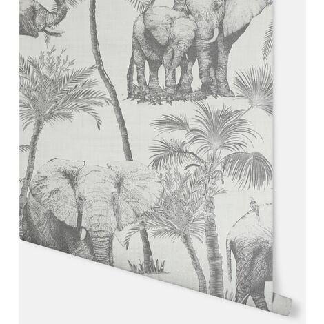 Safari Elephant Charcoal Wallpaper - Arthouse - 296700