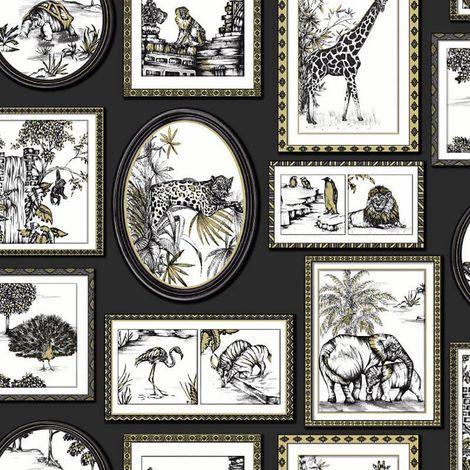 Safari Frames Wallpaper Animal Tiger Lion Black Metallic YöL