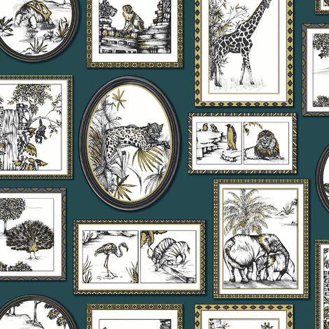 Safari Frames Wallpaper Animal Tiger Lion Teal Metallic YöL