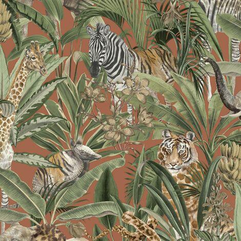 Safari Fusion Jungle Tropical Animal Orange Holden Decor Wallpaper