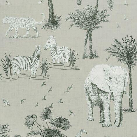 Safari Lagoon Themed Wallpaper Grey Zebra Tiger Elephant Smooth Finish