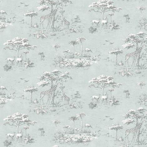Safari Wallpaper Jungle Exotic Tropical Giraffe Trees Flowers Birds From Rasch